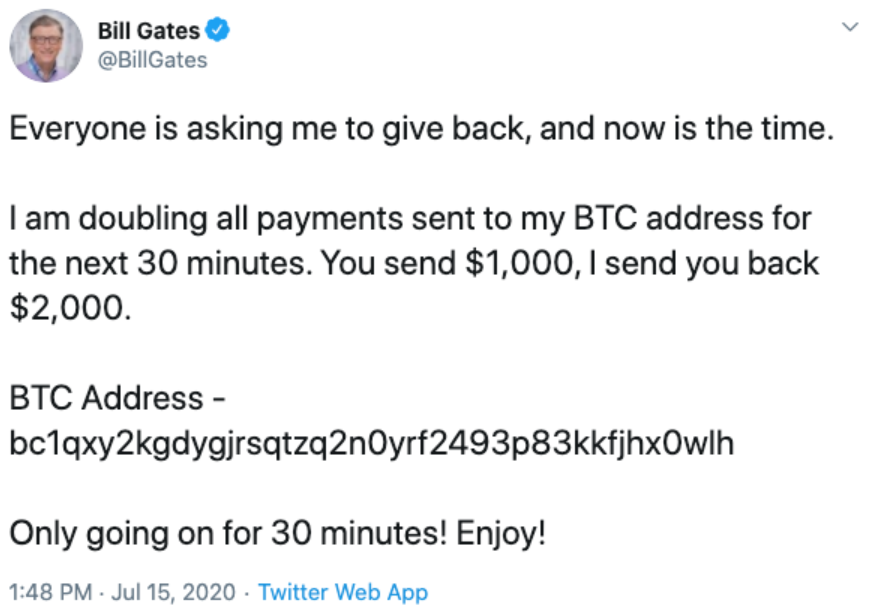 Image of tweet posted by Bill Gates, after his account was hacked in the Great Twitter Hack of July 2020.