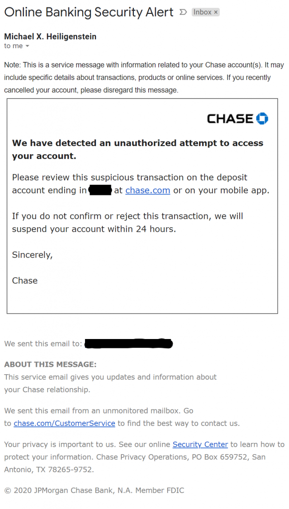 Example of a phishing email impersonating Chase Bank.