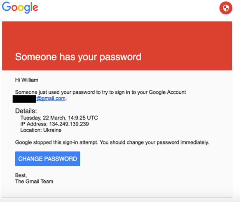Example email notice used to scam DNC officials into giving up their passwords.